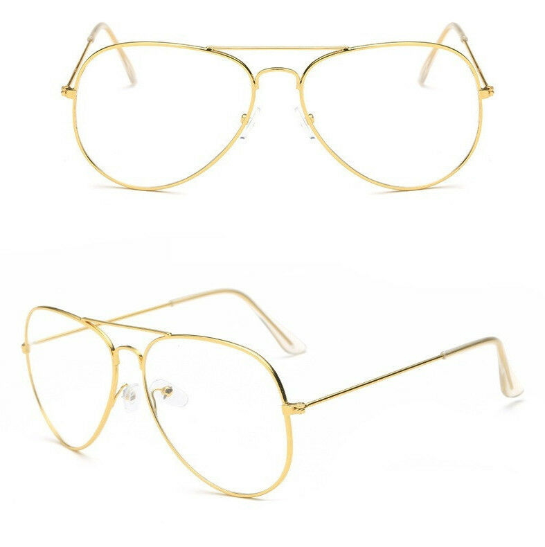 GOLD Clear Lens Aviator Glasses Classic Pilot Tear Drop ...