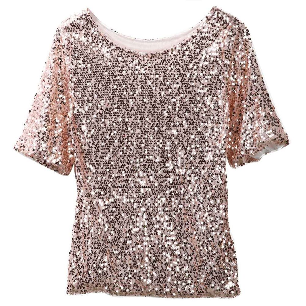 Womens lady sequined bling shiny tank top vest short for Women s embellished t shirts