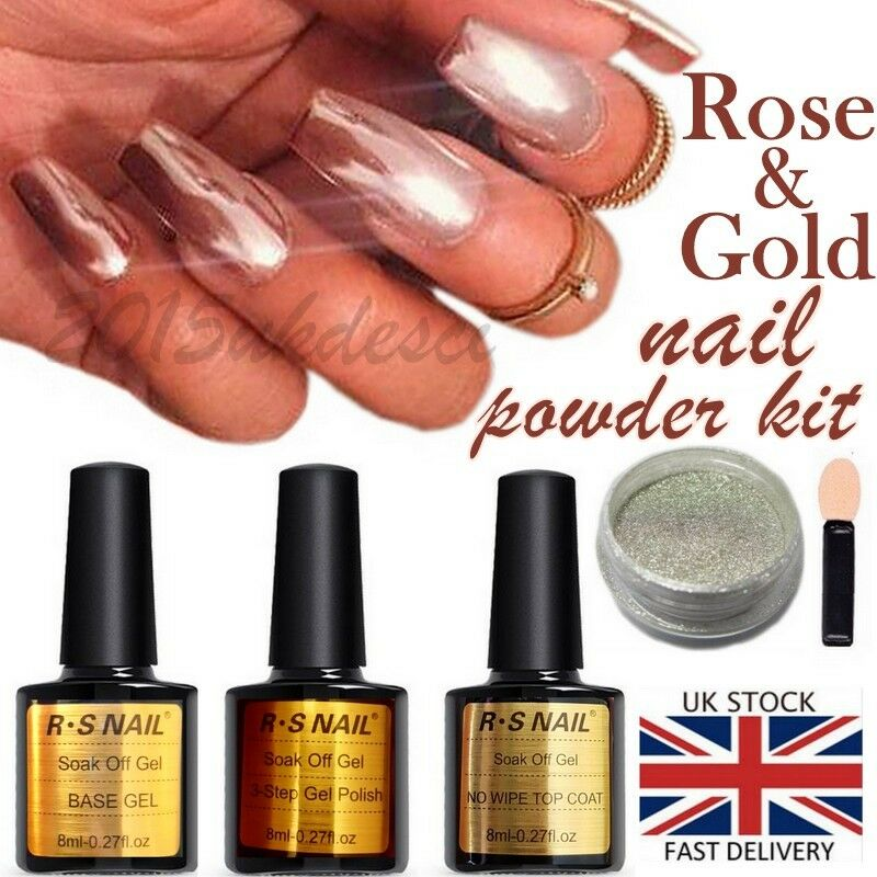 Chrome Nail Powder Cnd: ROSE GOLD KIT MIRROR POWDER CHROME EFFECT NAILS SILVER