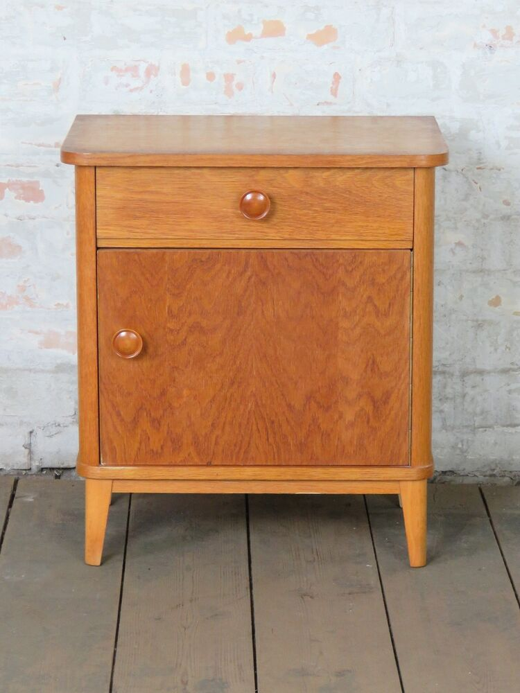 alter nachtschrank schrank bed side table cabinet mid century 60er 70er 60s 70s ebay. Black Bedroom Furniture Sets. Home Design Ideas