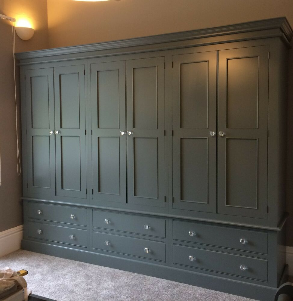 Painted 6 Door Wardrobe Edwardian Style With 6 Large