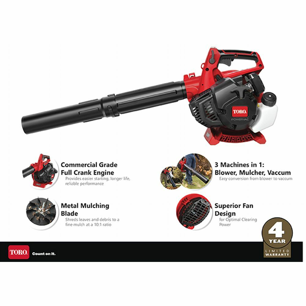 Toro 3 In 1 Pro Commercial Grade Handheld Gas Leaf Blower