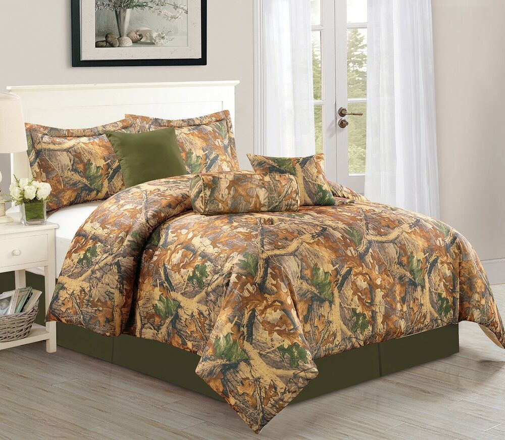 Natural Autumn Camouflage 7 Piece Soft Comforter Set Over