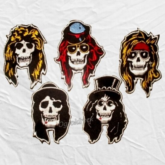 Set Guns N' Roses Embroidered Patches Skulls Axl Rose ...