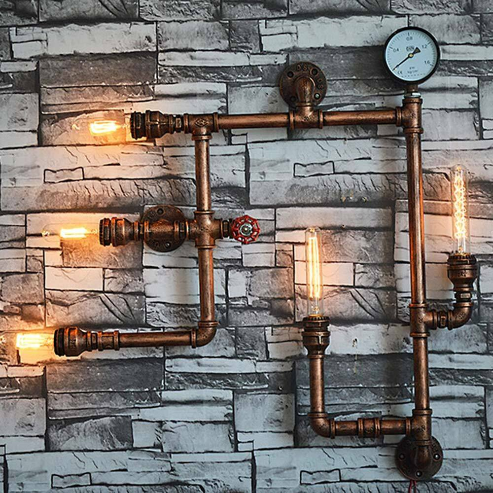 Industrial Pipe Wall Light: Industrial Steampunk Wall Lamp Fixture Light Rustic