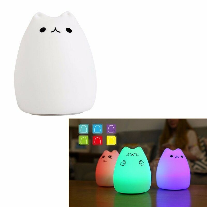 Squishy Cat Night Light : Silicone Cat LED Children Animal Night Light USB Soft Cartoon Baby Nursery Lamp eBay
