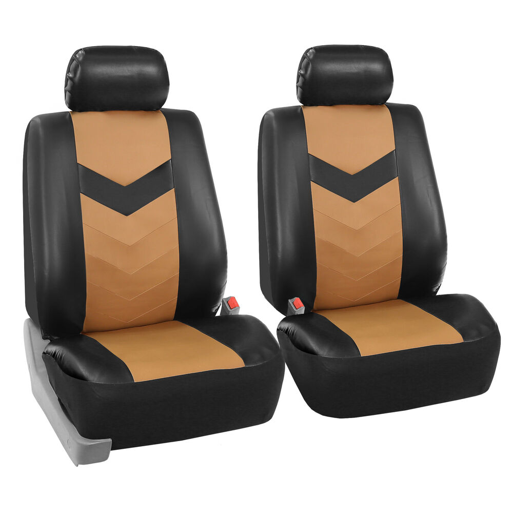 Leather Car Seats >> Faux Synthetic Leather Car Seat Covers Airbag Front Bucket