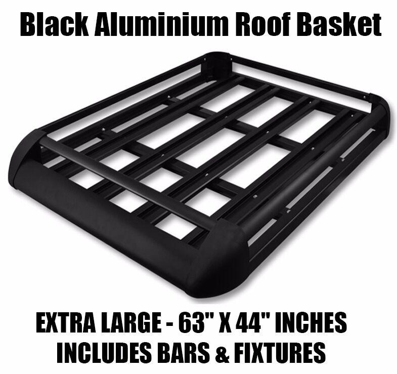 Large Black Aluminium Roof Rack Basket Tray Luggage Cargo