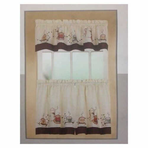 COFFEE CUP COMPLETE TIER & SWAG SET KITCHEN CURTAIN