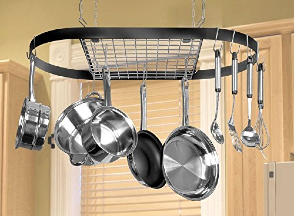 Pot And Pan Hanging Rack Hook Ceiling Mount Oval Wrought