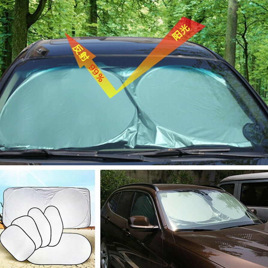 car auto 6 pcs reflective window sun shade sunshade shield cover visor uv block ebay. Black Bedroom Furniture Sets. Home Design Ideas