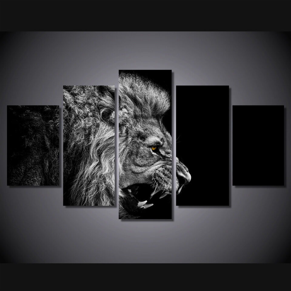 Lion Black And White Art Print Poster Canvas 5 Pieces Ebay