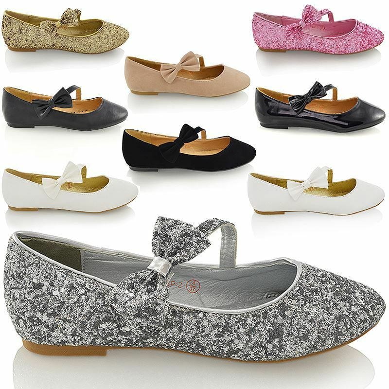 Womens Bridal Shoes Flat Ballet Ladies Glitter Bow Strap