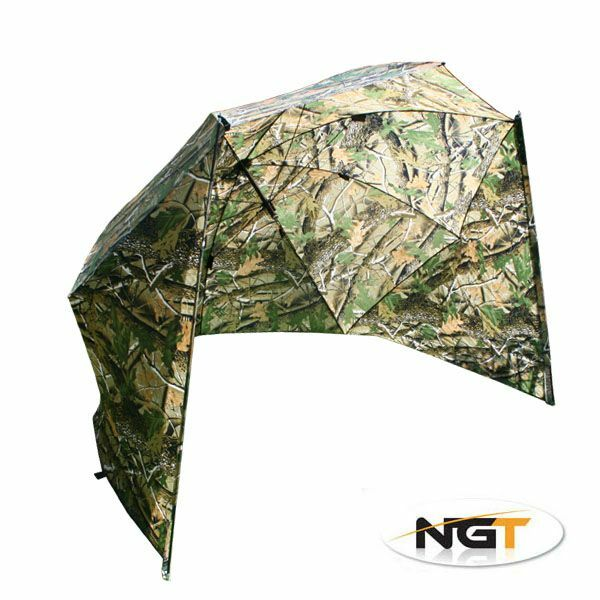 Details About 50 Camo Storm Brolly With Sides Umbrella Tent Case Ngt Carp Fishing Tackle