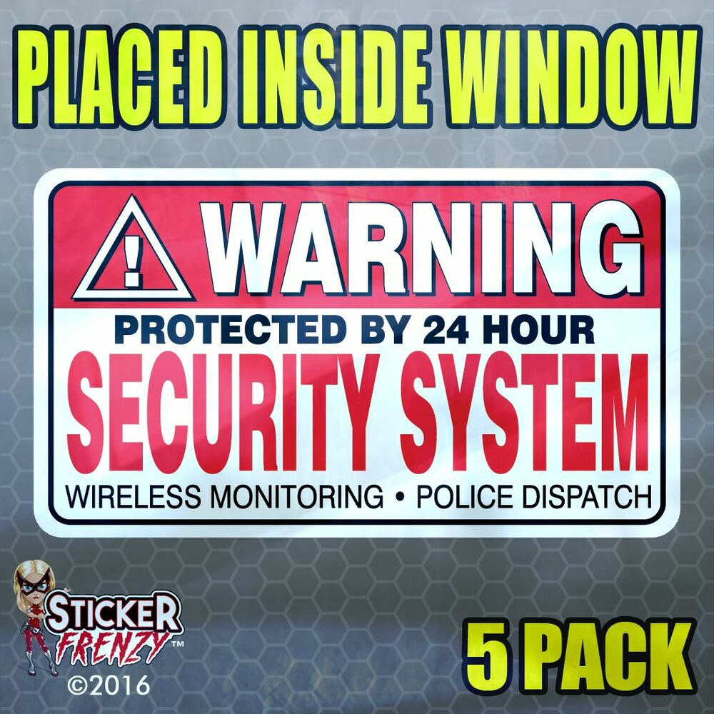 5 Pack Quot Inside Quot Warning Security System Stickers Home