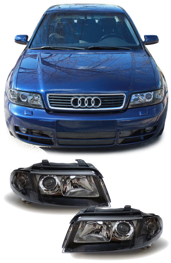 black smoked headlights headlamps audi a4 b5 model 01 1999. Black Bedroom Furniture Sets. Home Design Ideas