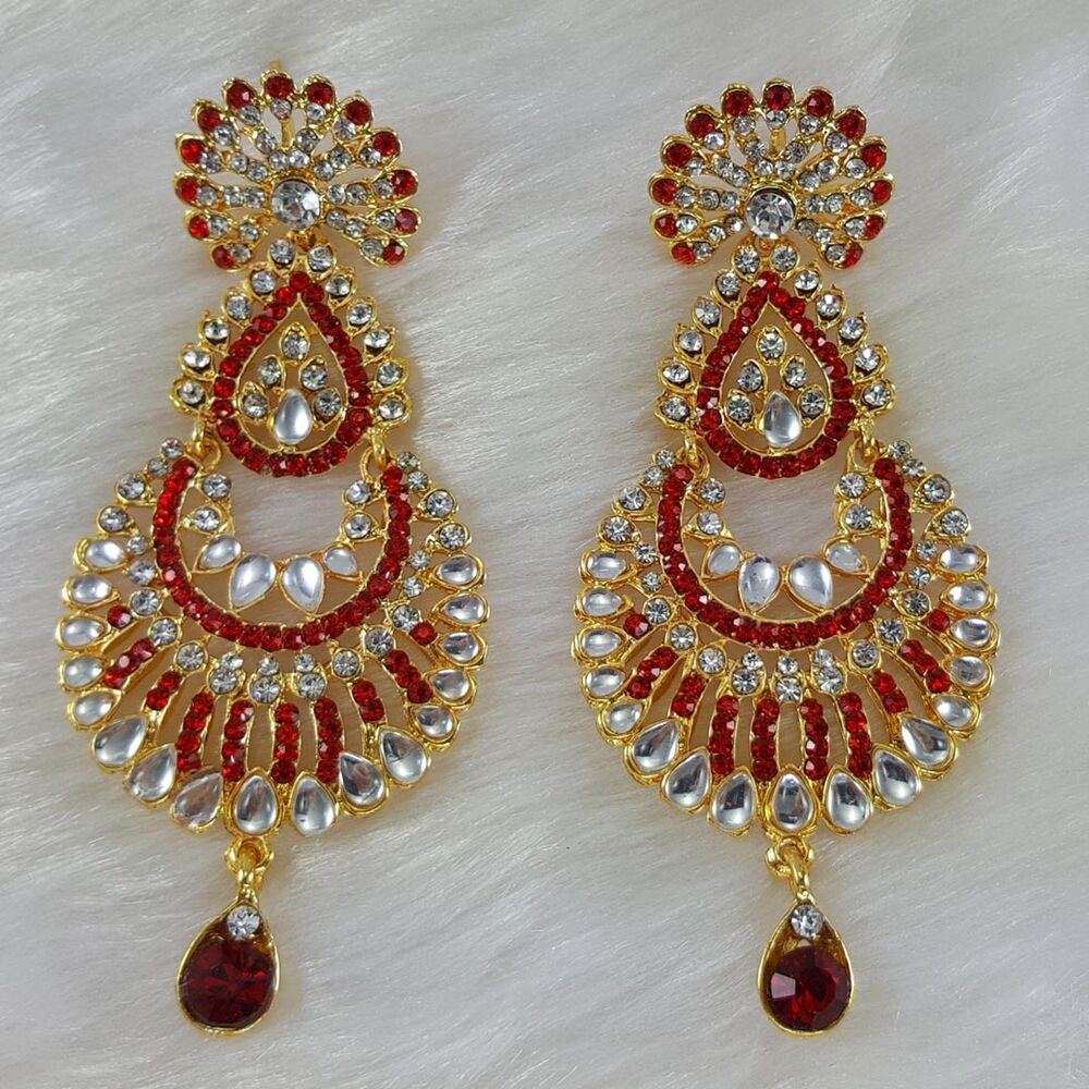 Gold Plated Bollywood Designer Zerconic Kundan Farshoin Earrings Jhumka Style Ebay
