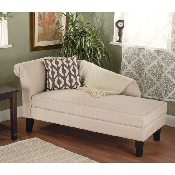Beige upholstered storage chaise bench lounge loveseat for Chaise bench storage