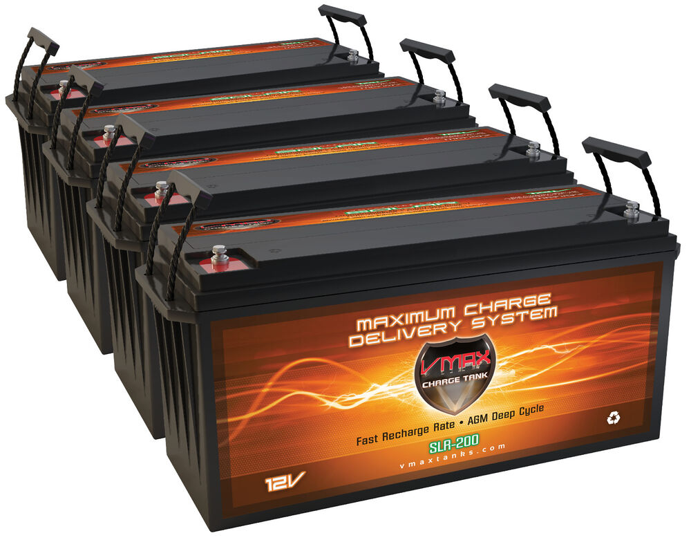 Qty4 Slr200 Solar Power Backup 800ah Total 12v Deep Cycle