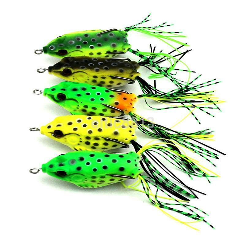 5pcs lot large frog topwater soft fishing lure crankbait for Topwater fishing lure