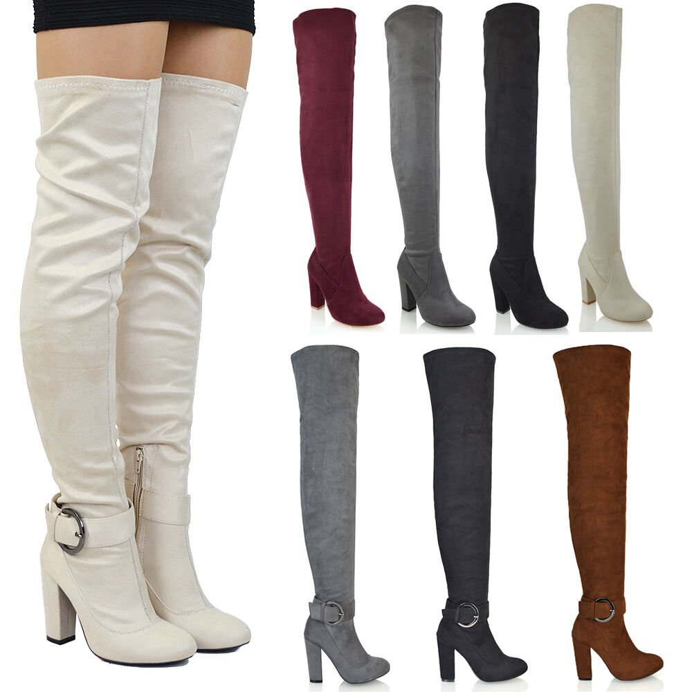 Womens Over The Knee High Mid Block Heel Ladies Sock Fit Thigh High Boots Size  Ebay-4369