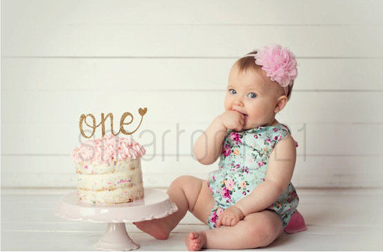 Details About Glitter Gold Silver One Cake Topper First 1st Birthday Girl Boy Photo Prop