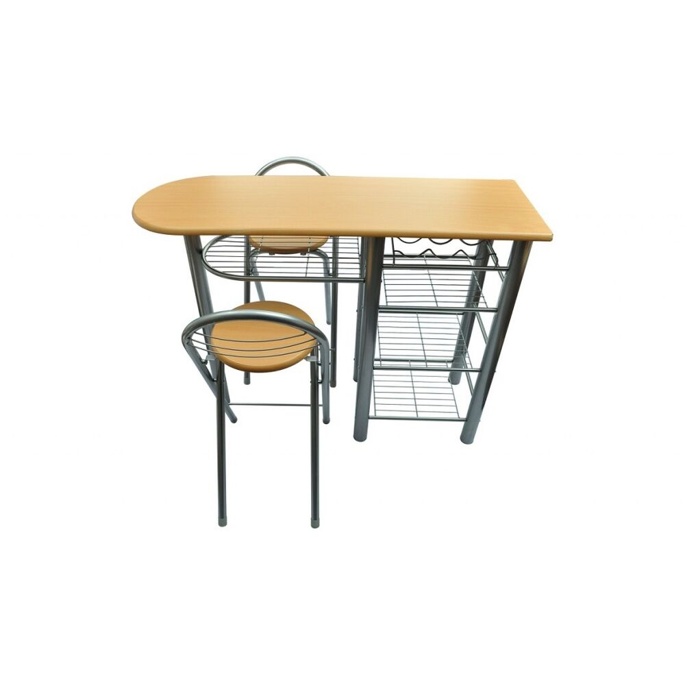 Kitchen table bar small with 2 chairs wine rack storage for Ensemble de cuisine table et chaises
