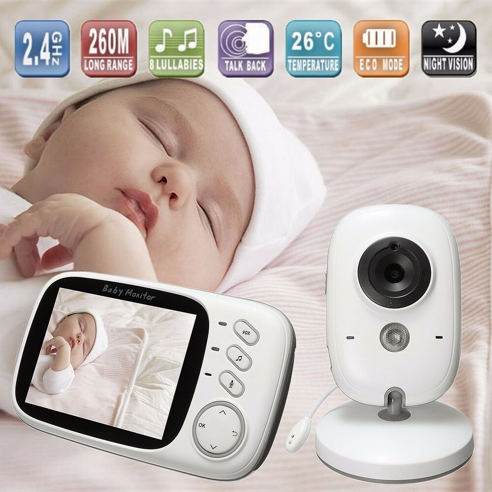 3 2 inch wireless digital baby monitor home camera secue talk video night vis. Black Bedroom Furniture Sets. Home Design Ideas