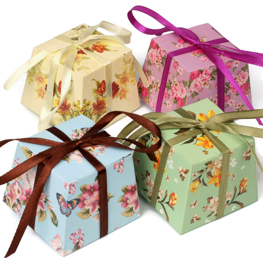Wedding Gifts Boxes: FLORAL Vintage Small GIFT BOXES Wedding Favour Chocolates