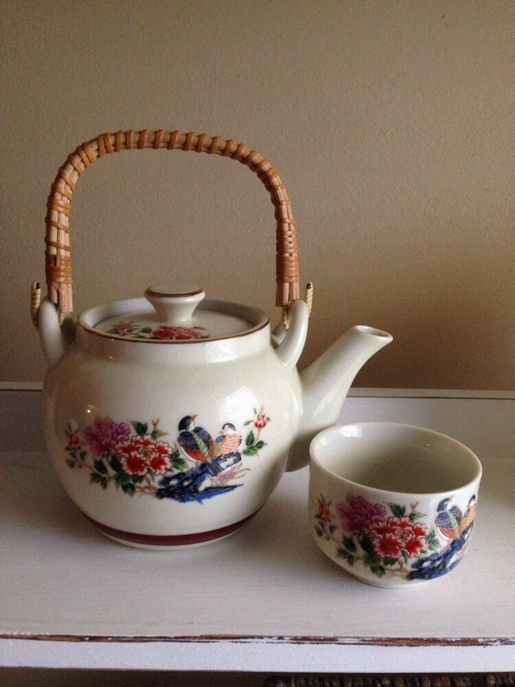 japanese tea set with teapot and 6 cups japan omc ebay. Black Bedroom Furniture Sets. Home Design Ideas