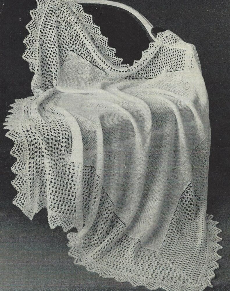 Baby Vintage Heirloom Shawl Knitting Pattern 54x54