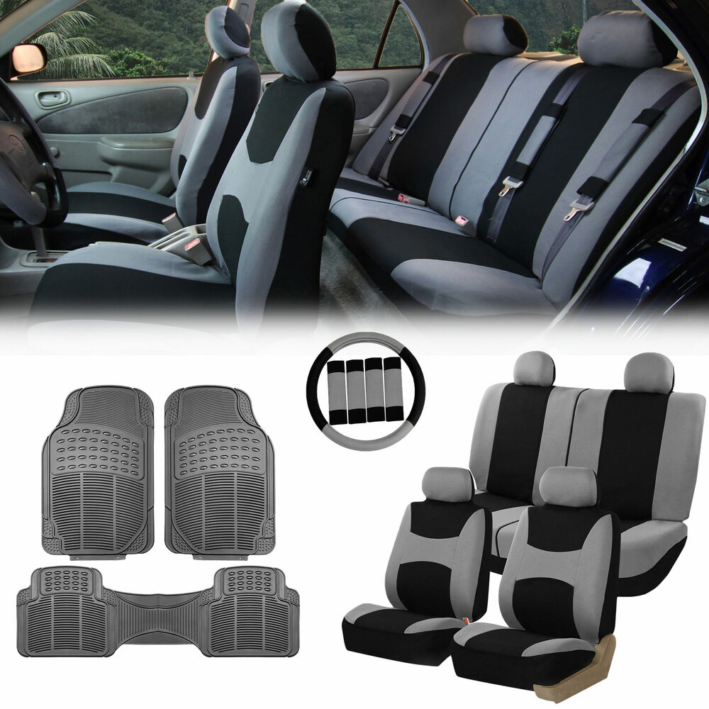 Gray Black Car Seat Covers For Auto W Steering Cover Belt