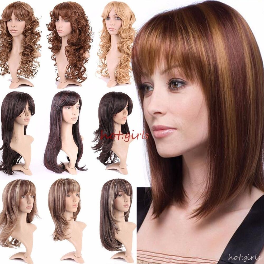 Fashion Womens Long Full Wigs Brown Blonde Highlight Mix