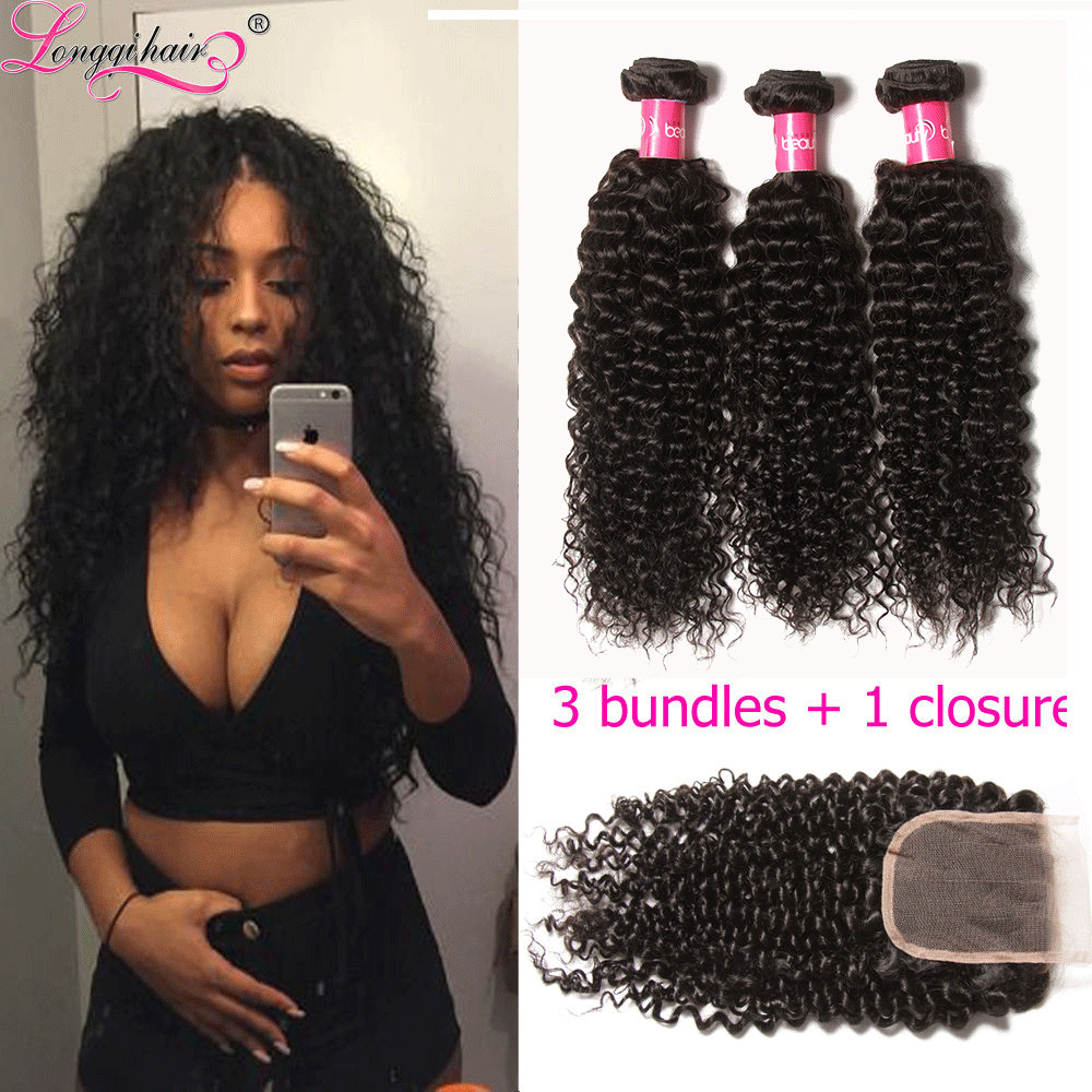 Brazilian Virgin Hair 3 Bundles With Closure 4 Quot 4 Quot Curly
