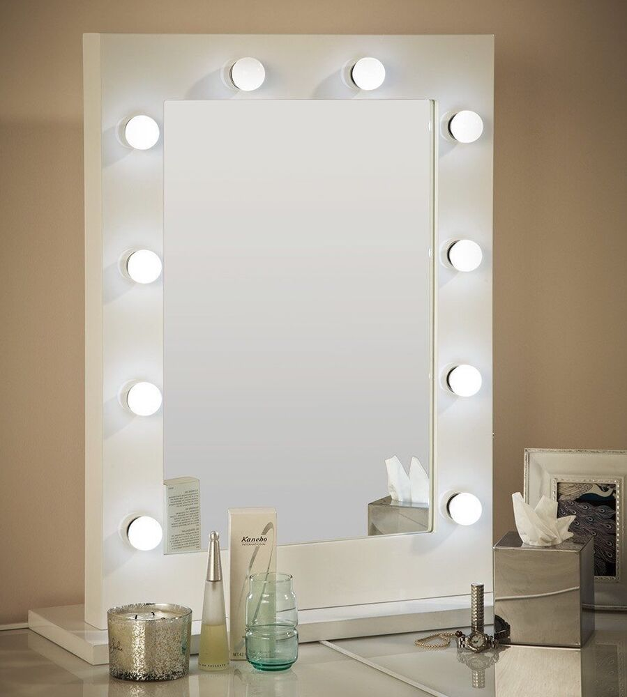 Hollywood mirror white gloss illuminated modern dressing for Mirror 80 x 60