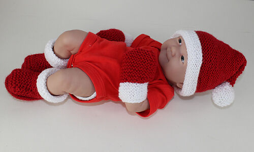 c3fb9b5b620 PRINTED INSTRUCTIONS-PREEMIE BABY SANTA HAT BOOTIES   MITTENS KNITTING  PATTERN