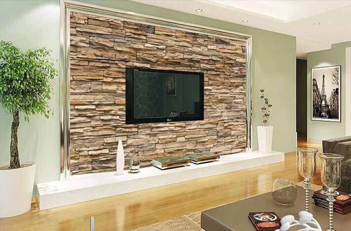 Stone roll modern brick wall 3d background wall wallpaper for 3d wallpaper in living room