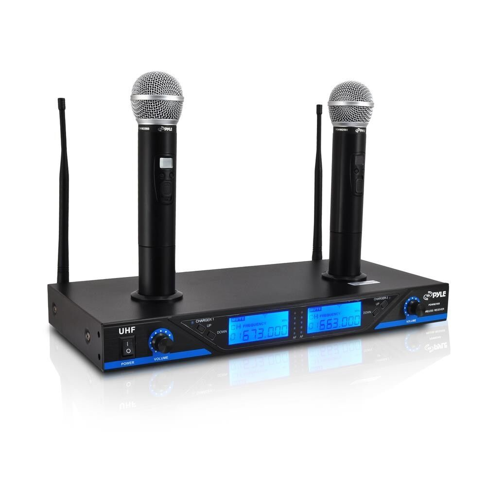 pyle uhf 16ch wireless cordless dual mic microphone professional system chargers 741921709381 ebay. Black Bedroom Furniture Sets. Home Design Ideas