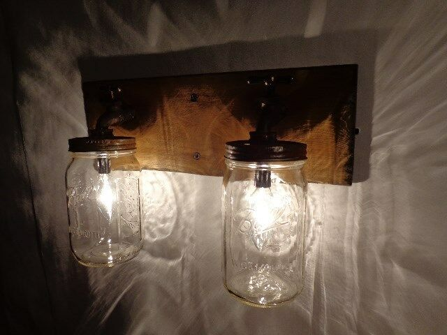 Handmade Rustic Mason Jar Vanity 2 light fixture, Country, Primitive eBay