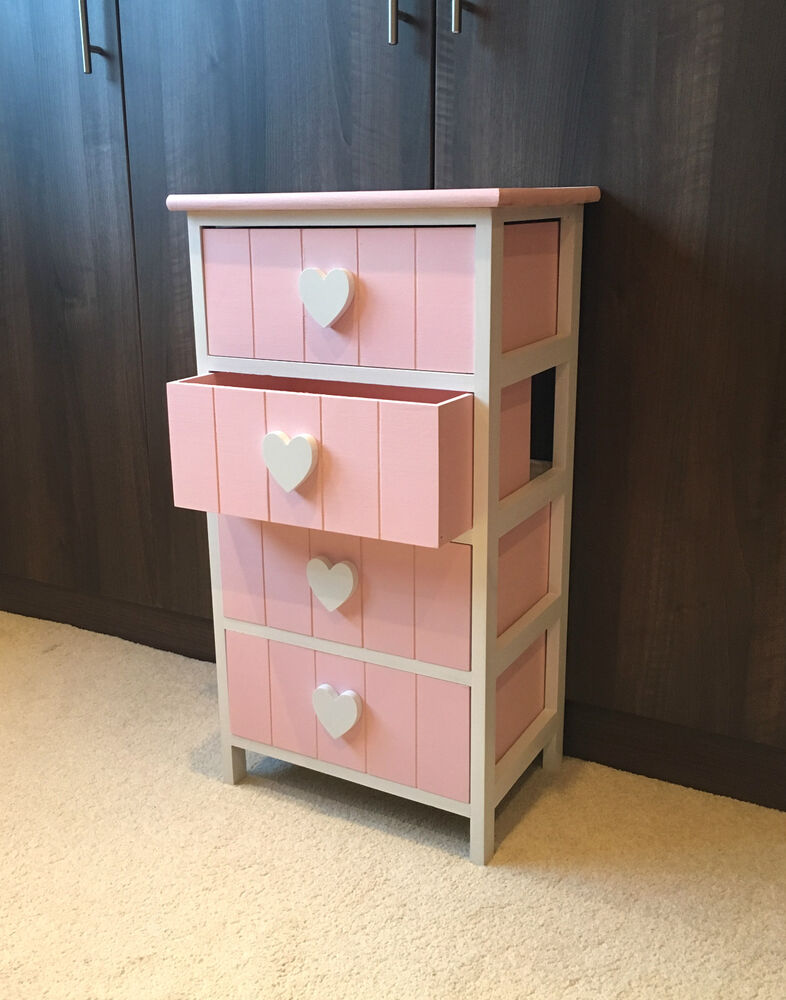 Pink White Chest Drawers Bedside Table Nightstand Girls