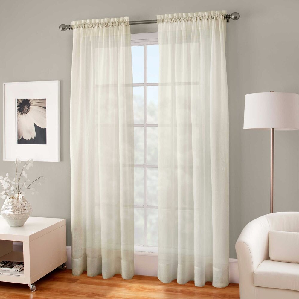 Crushed Voile Sheer 54 Inch Rod Pocket Window Curtain