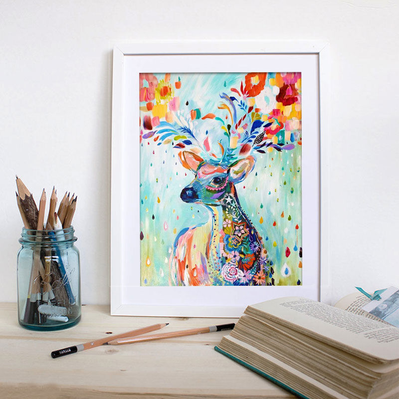 5d diy embroidery auspicious colorful deer full round diamond painting kits