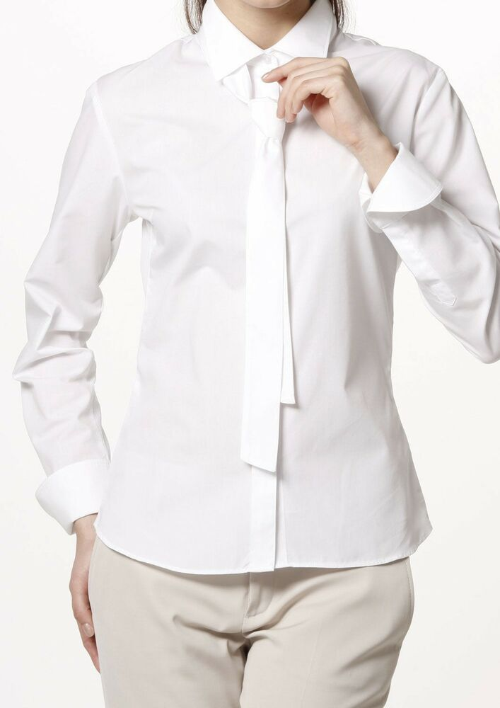 Women 39 s shirt poplin long sleeve tie neck formal white Wrinkle free shirts for women