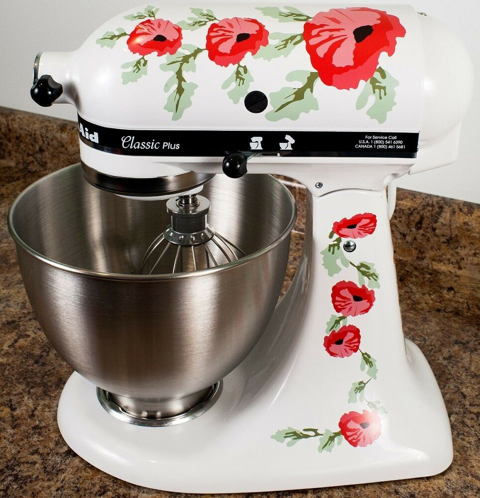 Kitchenaid Mixer Floral Decals ~ Red poppy flowers watercolor kitchenaid mixer mixing