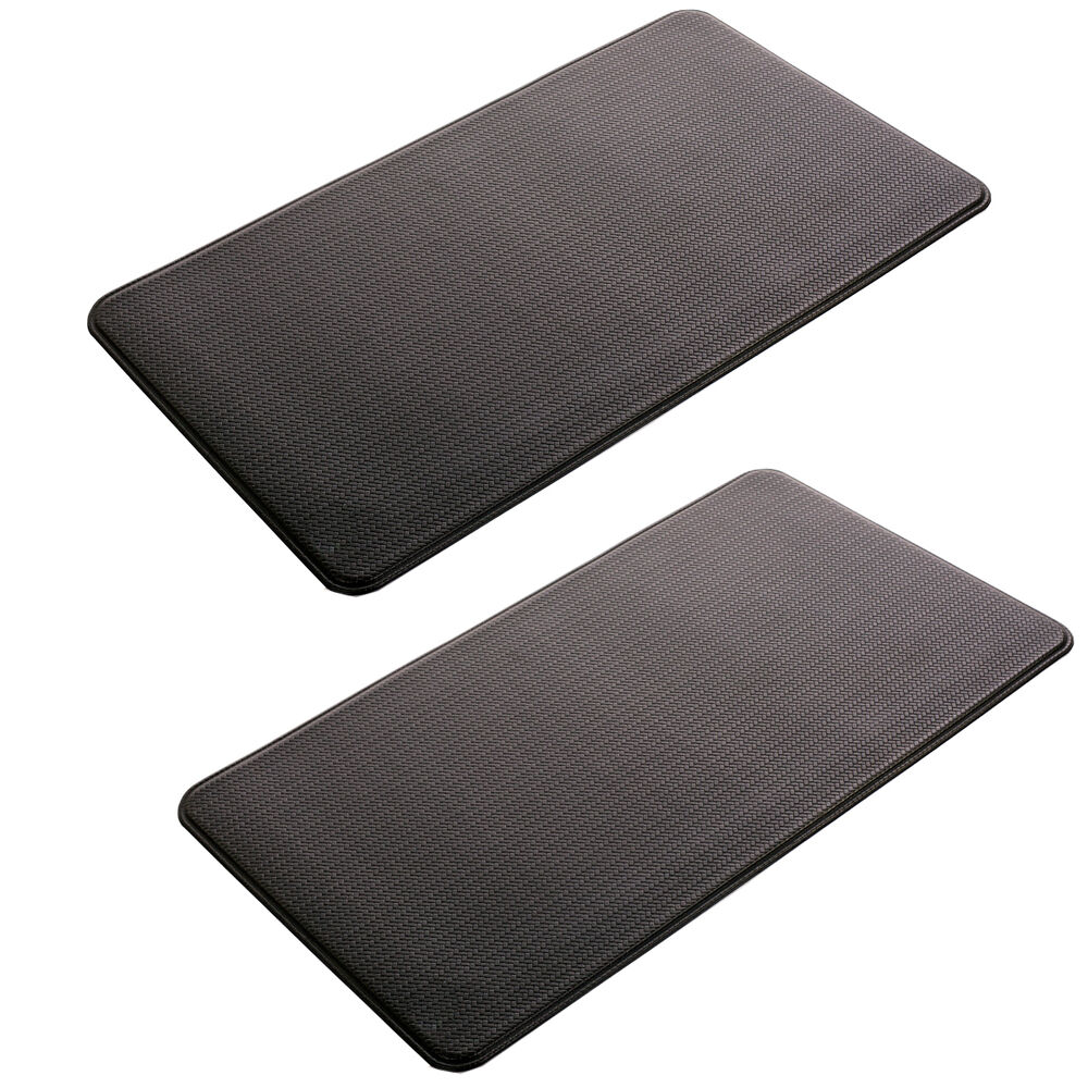 2 Pc Black Indoor Cushion Kitchen Rug Anti Fatigue Floor