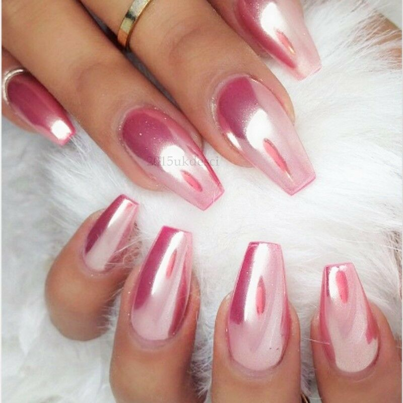 Rose Gold Mirror Powder Chrome Effect Nail Silver Pink
