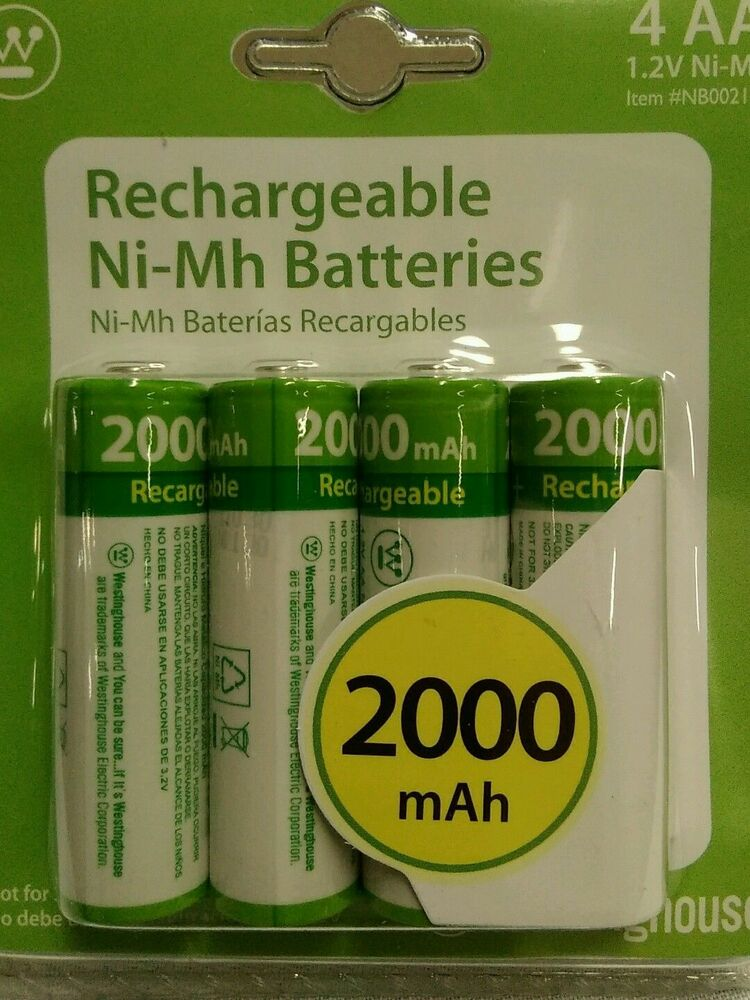 4x aa westinghouse rechargeable batteries 2000 mah 1 2v ni. Black Bedroom Furniture Sets. Home Design Ideas