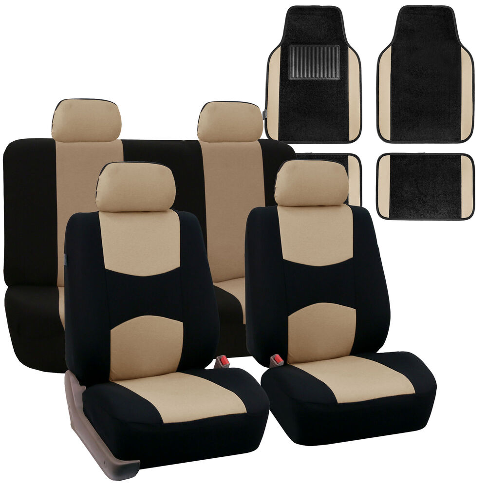 Car Seat Covers Set For Auto 4 Headrests Black Beige With