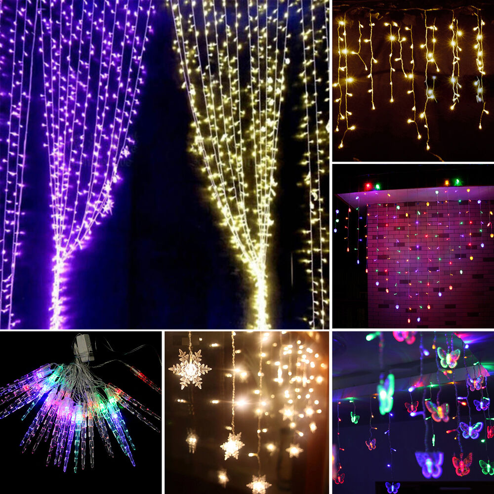 Led icicle hanging curtain fairy string light christmas for Decor lights