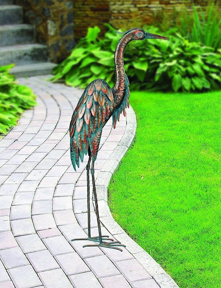 Heron egret patina regal art statue metal stand decor for Outdoor garden ornaments